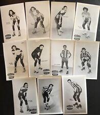 ELEVEN Vintage ROLLER DERBY Skater Publicity POSTCARDS with HOFer TOMMY ATKINSON