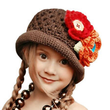 Crochet Hat with Flowers (Brown) - Small