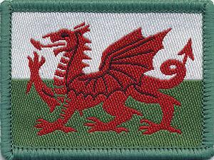 Welsh Flag Dragon Woven Badge, Patch, 6cm x 4.5cm