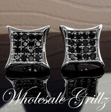 STUNNING!! $69 Mens Simulate BLACK Diamond 14k White Gold Gp HipHop ICE Earrings