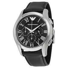 Armani Chronograph Black Dial Steel Case Black Leather Strap Mens Watch AR1700