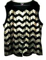 Vince Camuto Top Tunic Womens Black Embellished Gold Sequins Scoop Plus Size 3X