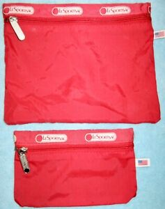 Set of 2 LeSportsac Red Zippered Cosmetic, Makeup Bag & Coin Purse; Rubberized