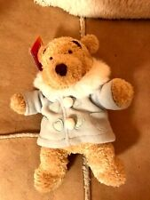 "NEW : Disney Store Winnie The Pooh Plush Soft Toy 8"" tall Winter Duffle Coat"