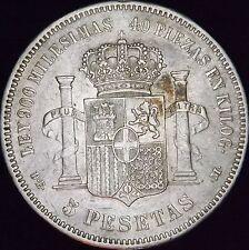 1871 (75) VF++ Details Dinged Spain Silver 5 Pesetas - KM# 666 - Free Shipping