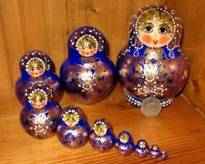 Russian nesting dolls HAND PAINTED 10 BLUE GOLD signed AYMASOVA Genuine Babushka