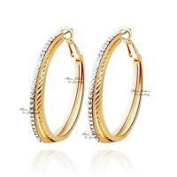18K Rose Gold Filled Simulated Diamond Stylish Crossover Double Hoop Earrings