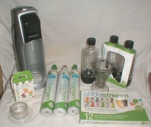 SodaStream Drink Maker Sparkling Water Soda LOT 3-Cans-Bottles-Flavoring ++