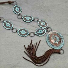 Cowgirl Western Rodeo Engraved Patina Concho Brown Long Suede Tassel Necklace