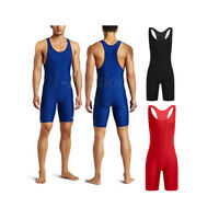 Sexy Men Lycra Bodysuit Singlet Jumpsuit Underwear Thongs Leotard Gym Fitness