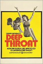 DEEP THROAT vintage adult movie poster AQUARIUS 1972 provocative 24X36 RARE