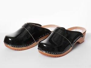 Women's HandMade Clogs Size 3-8 Ladies Wooden Sole Sandals 100% Leather Black UK