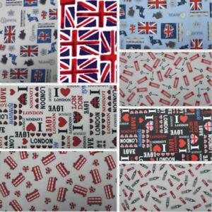 100% COTTON FABRIC UNION JACK PATRIOTIC LONDON RED BUS BIG BEN  QUEEN CORGI