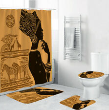 African Bathroom Rug Set Shower Curtain Thick Bath Mat Non-Slip Toilet Lid Cover