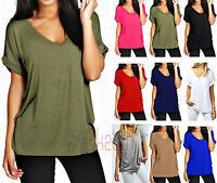 Ladies Women's Baggy Fit V Neck Top Turn Up Sleeve  Batwing Oversized UK 08-26