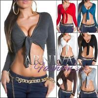 SEXY WOMENS CROP JUMPER XS S M L XL cropped knit bolero LADIES WRAP SWEATER tops