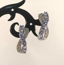 10K White Gold Amethyst & Diamond Accent earrings