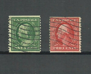 US Scott # 352 and 353, USED / F-VF / PERF 12 / DOUBLE LINE WATERMARK! SCV $445