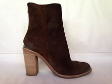 Allsaints dark brown suede tall ankle boots 41 10 stacked heel metal accents
