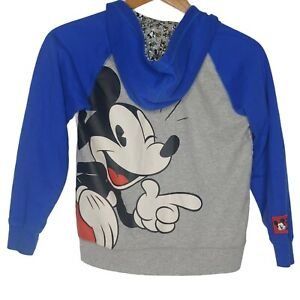 Disney Parks Youth Large Blue & Gray Mickey Mouse Full Red Zip Up Hoodie 10/12