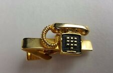 "Rugin Telephone Tie Clip Bar Push Button Phone Communication Business 1 ¼"" Vtg"