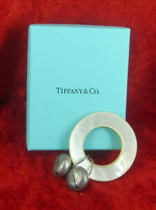 TIFFANY & CO  STERLING SILVER, MOTHER OF PEARL TEETHER RATTLE c 1910