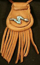 "Medicine bag - Pueblo Zuni design  Rattlesnake - buckskin ""speed perception"""