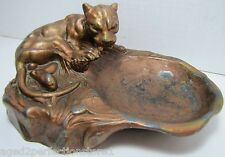 Antique Art Deco Tiger Tray fabulous trinket tip jewelry ring watch coin Ornate