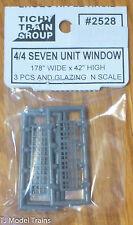 Tichy Train Group #2528 (N Scale) 4/4 Seven Unit Windows (3 pcs in pkg) Plastic