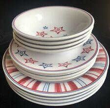 Longaberger Stars & Stripes Melamine 4 Settings Bowls Plates Dinner Lunch 12 pc