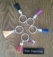 FREE ENGRAVING (PERSONALIZED) Graduation Leather Tassel Keychain Key Ring