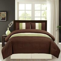 SAGE Green Brown Beige Pin Tuck Regatta Down Alt Comforter Set CAL King Size