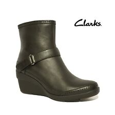 """NEW CLARKS """"UN LORNA"""" WARM FLEECE LINED BLACK LEATHER WEDGES ANKLE BOOTS LADIES"""