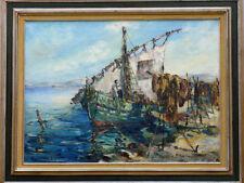 Tableau vers 1950 école Provençale Martigues Marine Bateau de pêche