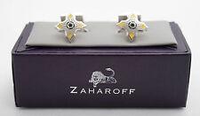 New ZAHAROFF Guardian Yellow Rhodium Plated Silver Shirt Cufflinks NIB