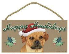 Puggle Happy Howlidays Santa Hat Wood Funny Christmas Dog Sign Plaque Usa Made