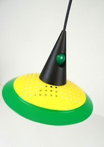 GREEN YELLOW ORIGINAL 80S MEMPHIS SOTTSASS AGE HANGING CEILING LAMP PENDANT