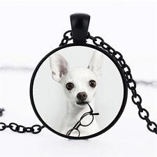 Wholesale Cabochon Glass Black  Chain Pendant Necklace ,Lovely Dogs /87