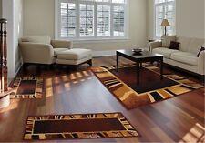 Throw Rugs 3 Piece Set Living Room Big Area Floor Mat Runner Scatter Brown Tan
