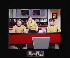 """STAR TREK TOS Kirk, Chekov & Sulu on the Bridge 8""""x10"""" Photo-11""""x14"""" Blk Matted"""