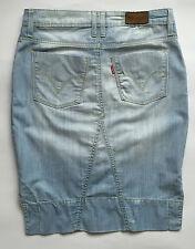 Levis 630 minigonna jeans w 28 tg 42 levi's mini gonna corta spacco azzurra T308