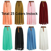 Size L Women Lady Chiffon Pleated Retro Long Maxi Dress Elastic Waist Skirt
