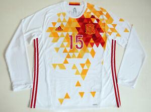 Spain 2015 – 2016 #15 Sergio Ramos Away LS Adidas Player Issue Shirt size 10 XL