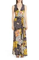 NEW ETRO Black Yellow Floral Print V-Neck Tie Waist Jersey Maxi Dress 40 US 4