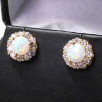 2 Ct Round White Fire Australian Opal Earrings 14K Gold Plated Women Jewelry E46