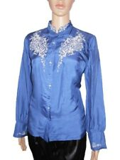 Vtg 70s Hand Embroidery Mandarin Tailored Formal Silk Shirt Blouse sz 14 16 AI36