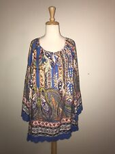Suzanne Betro Size 4X Royal Blue Multi Paisley Print Tunic Top
