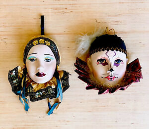 Masquerade Face Mask Wall Hangings Porcelain Hand Painted Mardi Gras Lot of 2