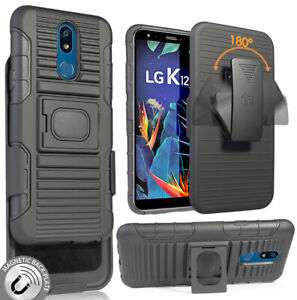 Black Rugged Grip Case with Stand + Belt Clip Holster for LG K40, Solo, K12 Plus