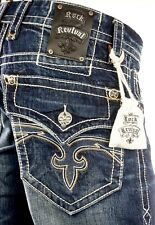 "$220 Mens Rock Revival Jeans ""Francis"" Volcano Stitch Straight Leg 32 X 33"